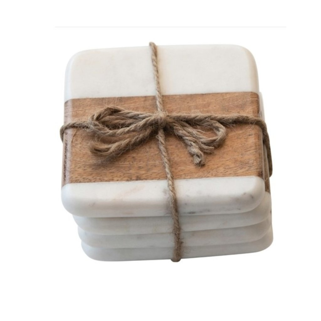 "4"" Square Marble & Acacia Wood Coasters, White & Natural, Set of 4"