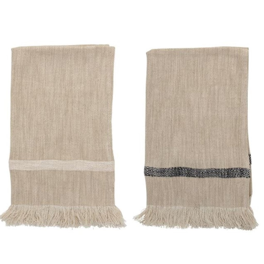 Woven Cotton Striped Tea Towels with Fringe Set/2
