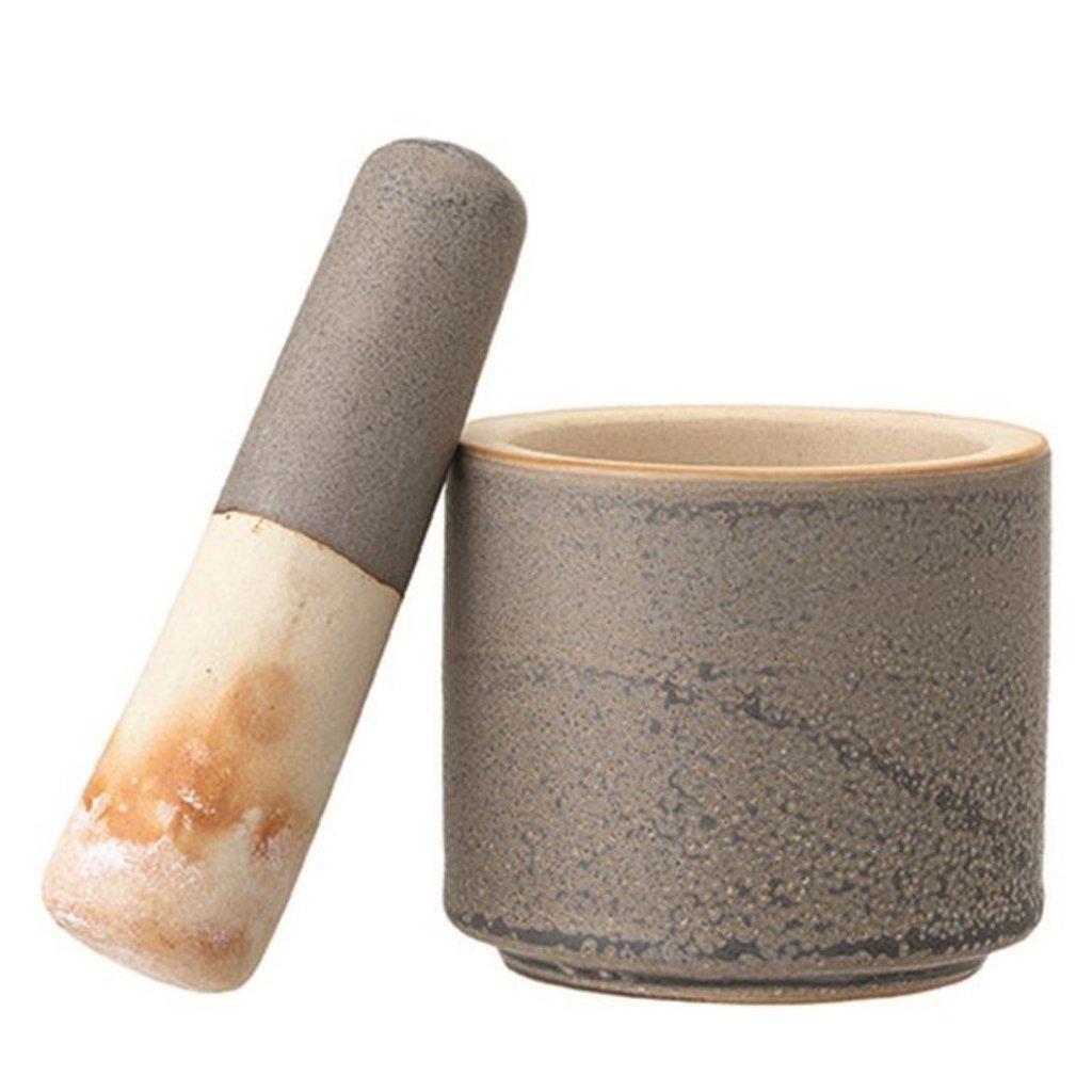 Reactive Glaze Stoneware Mortar & Pestle Set