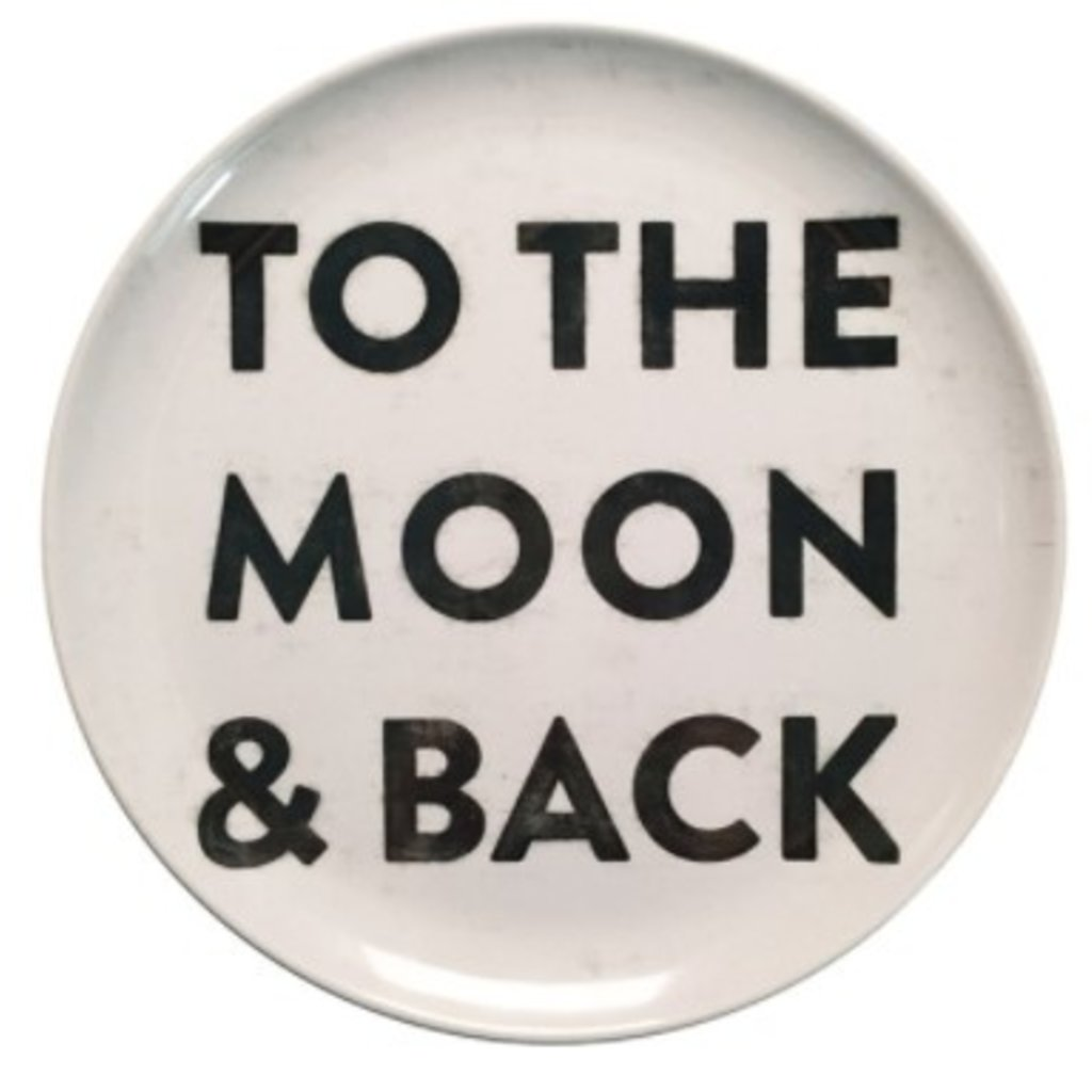 """Sugarboo 10"""" To The Moon And Back Melamine Plates (Set of 4)"""