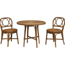 Hand-Woven Rattan Bistro Table/ Chairs, Set of 3,