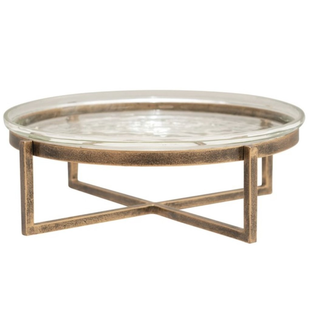 """10"""" Round x 3.5""""H Glass Serving Tray with Metal Stand, Antique Gold Finish, Set of 2"""