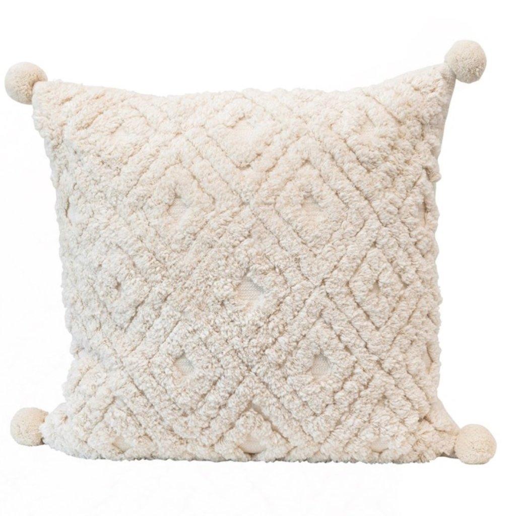 "24"" Square Cotton Tufted Pillow w/ Pom Poms"