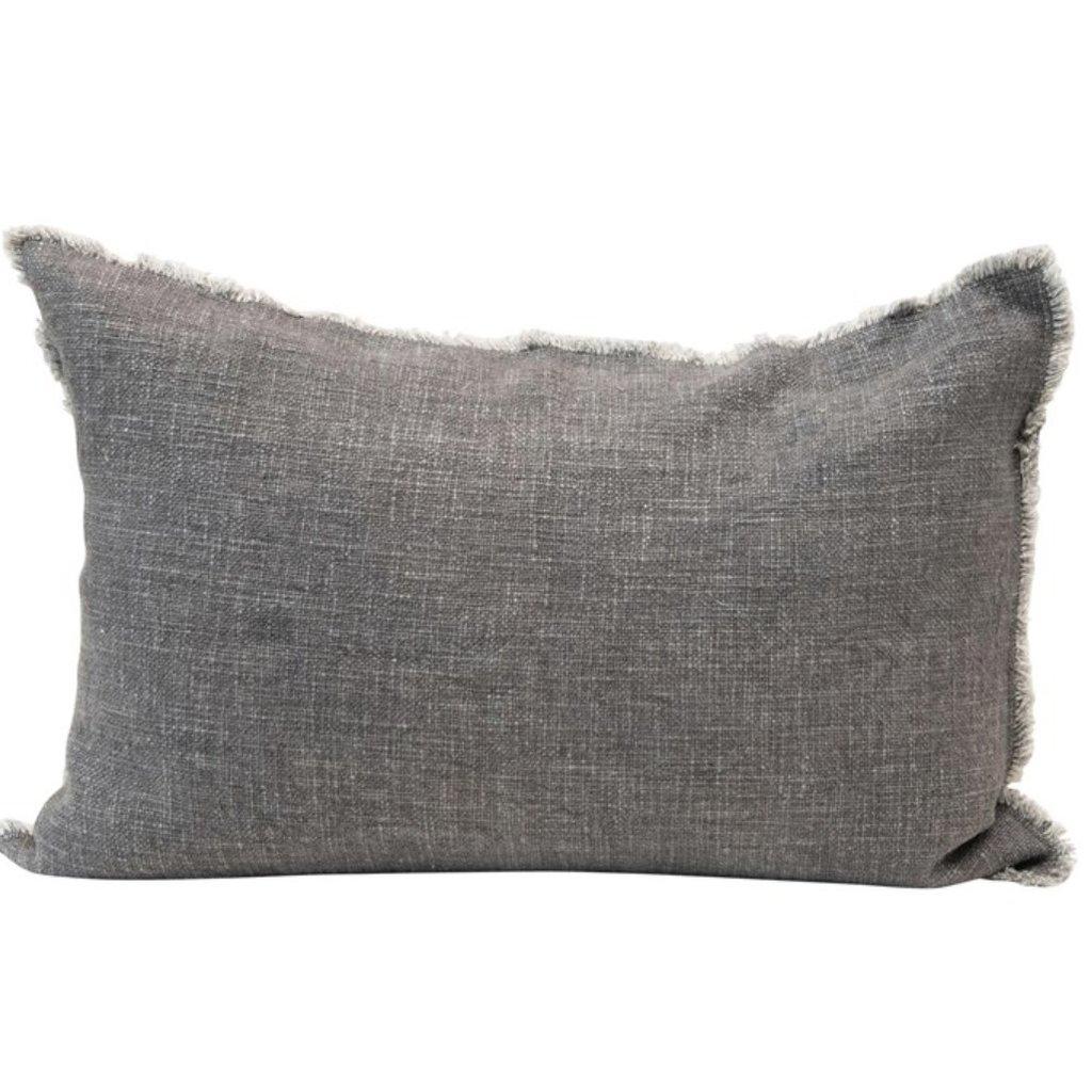 """24""""L x 16""""H Linen Blend Lumbar Pillow w/ Frayed Edges, Grey"""