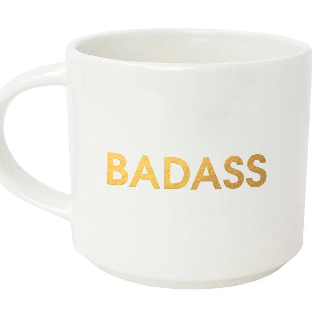Chez Gagne BADASS - WHITE MUGS Set of 2/ GOLD FOIL