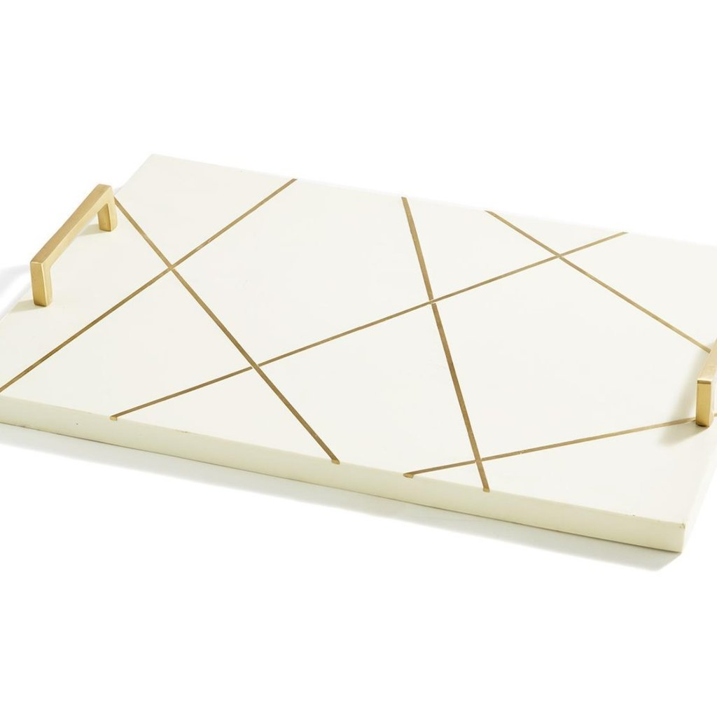 Two's Company Ivory Board w Brass Lines