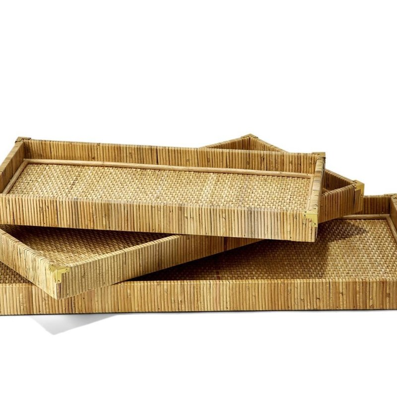 Two's Company Trio of Oversized Rattan Trays (Set of 3)