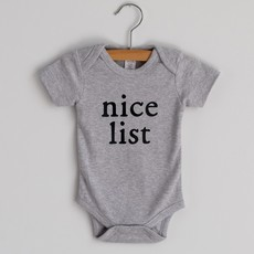 Gray Nice List Short Sleeve Bodysuit