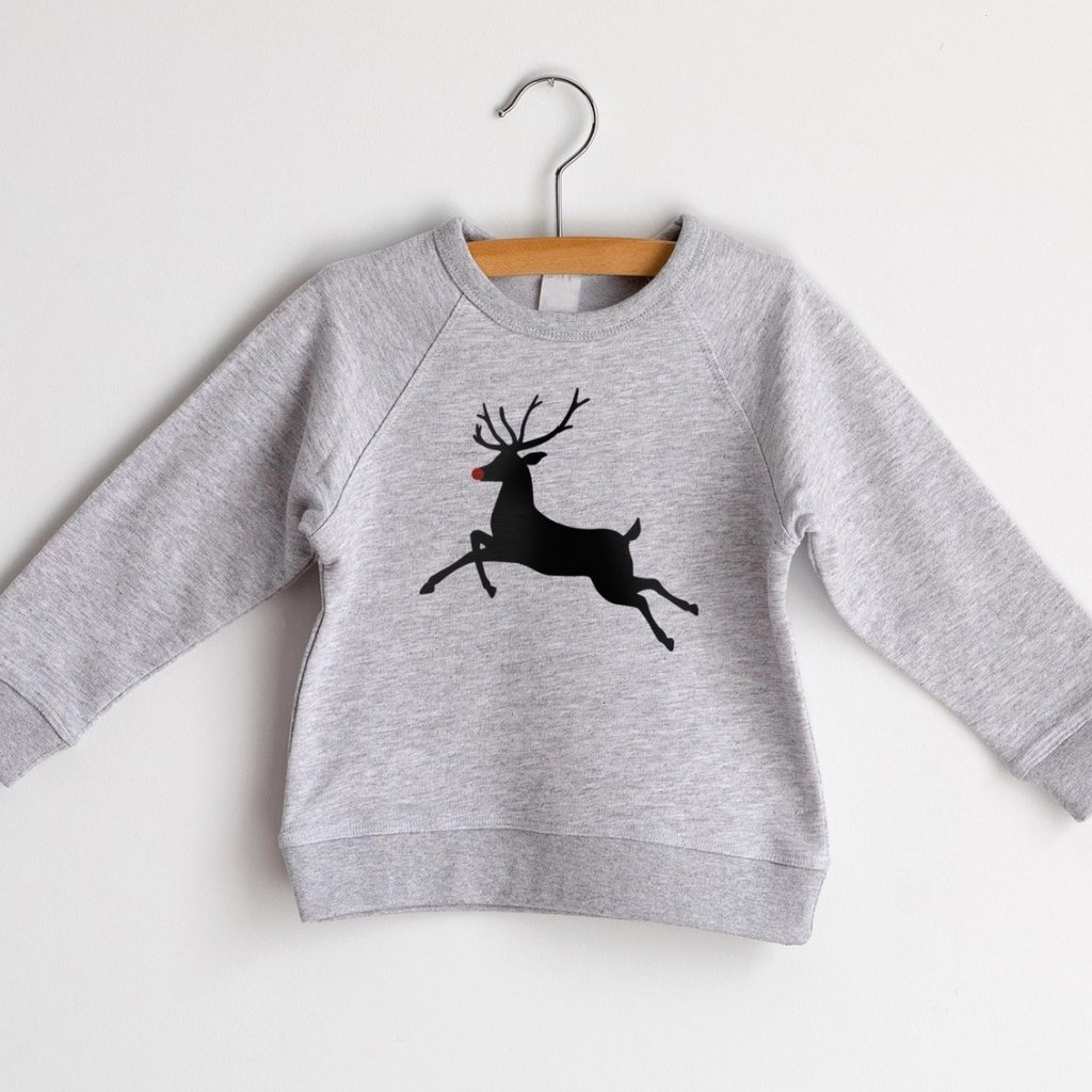 Rudolph Gray French Terry Organic Kids Pullover