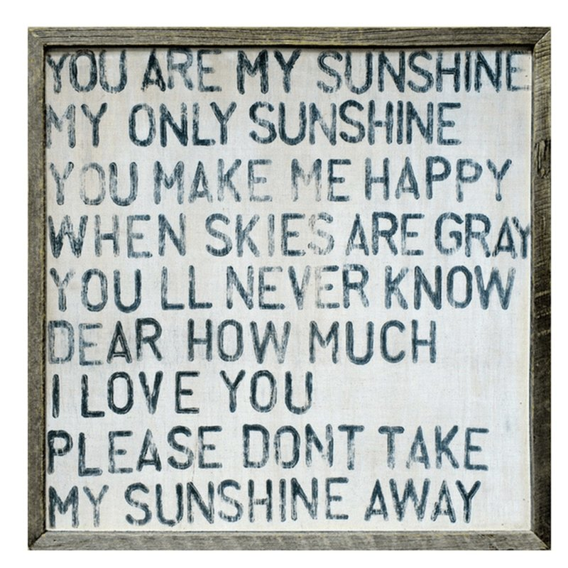 Sugarboo Art Print - You Are My Sunshine - Grey Wood