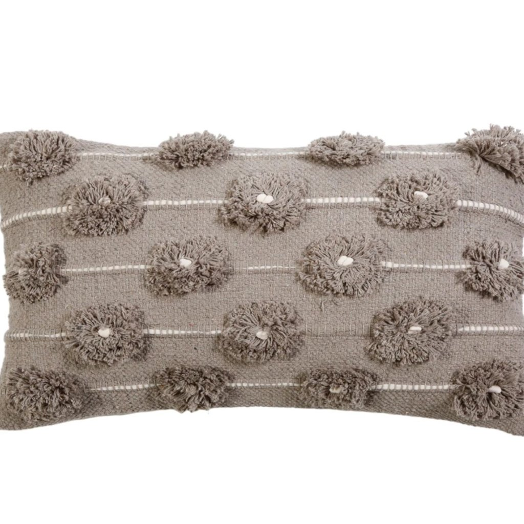 Pom Pom at Home Lola Handwoven Taupe/Ivory Pillow w Insert