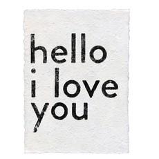 Sugarboo Hello I Love You Handmade Paper Print
