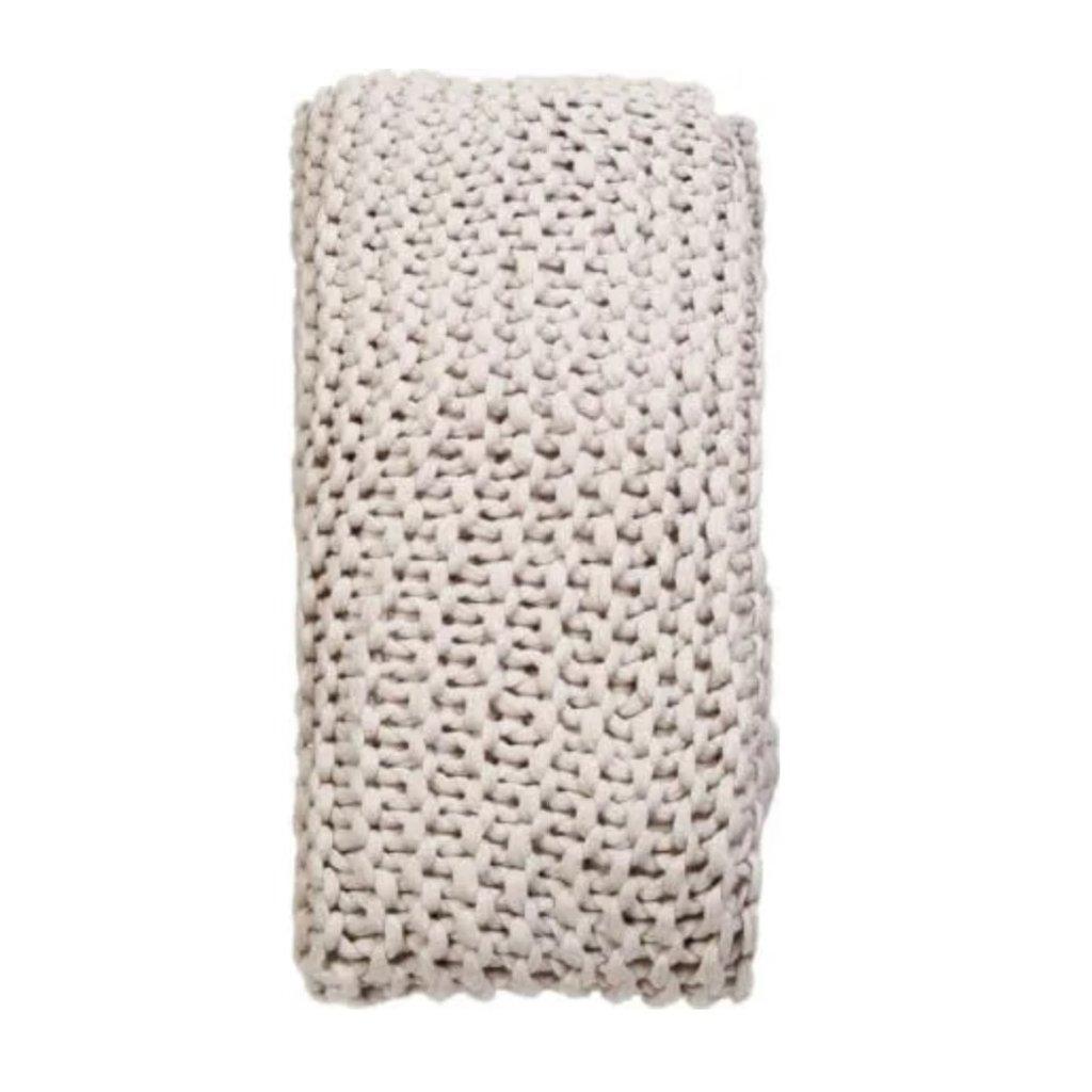 Pom Pom at Home Finn Hand Knit Throw Taupe