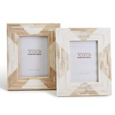 """Two's Company Aztec Natural and Antique Bone 5"""" x 7"""" Frame"""
