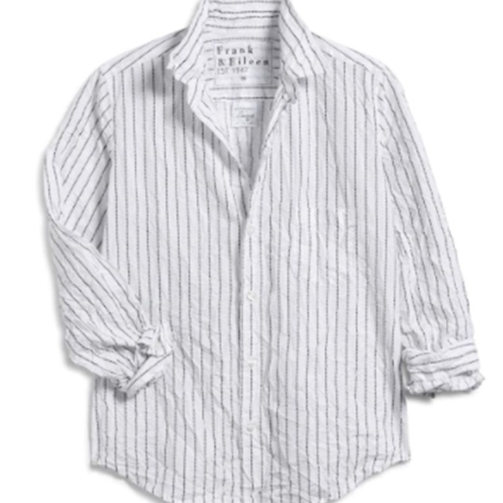 Frank & Eileen Barry Woven Button Up Black Dotted Stripe