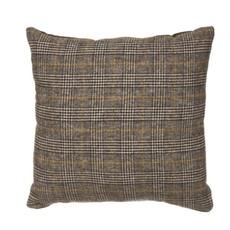Square Wool Blend Plaid Pillow, Multi Color