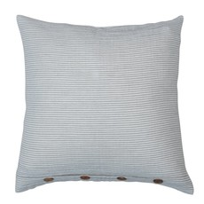 """20"""" Square Cotton Pillow with Stripes & Wood Buttons, Grey & White"""
