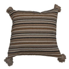 Square Woven Cotton Pillow with Stripes & Tassels, Multi Color