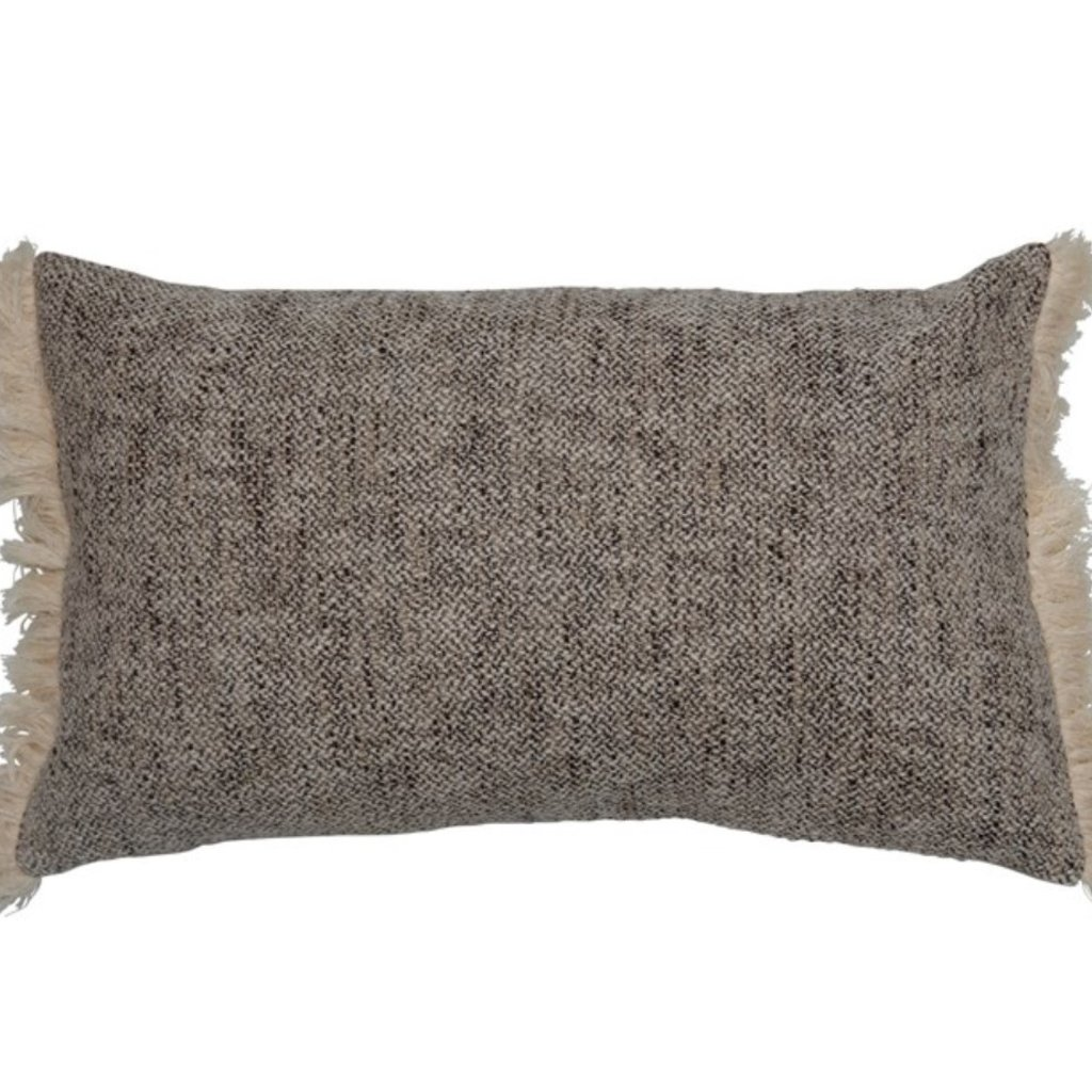 Woven Cotton Lumbar Pillow with Chambray Back & Fringe, Black & Cream Color