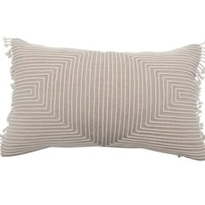 Cotton Chambray Appliqued Lumbar Pillow with Piping & Fringe, Natural & Cream Color