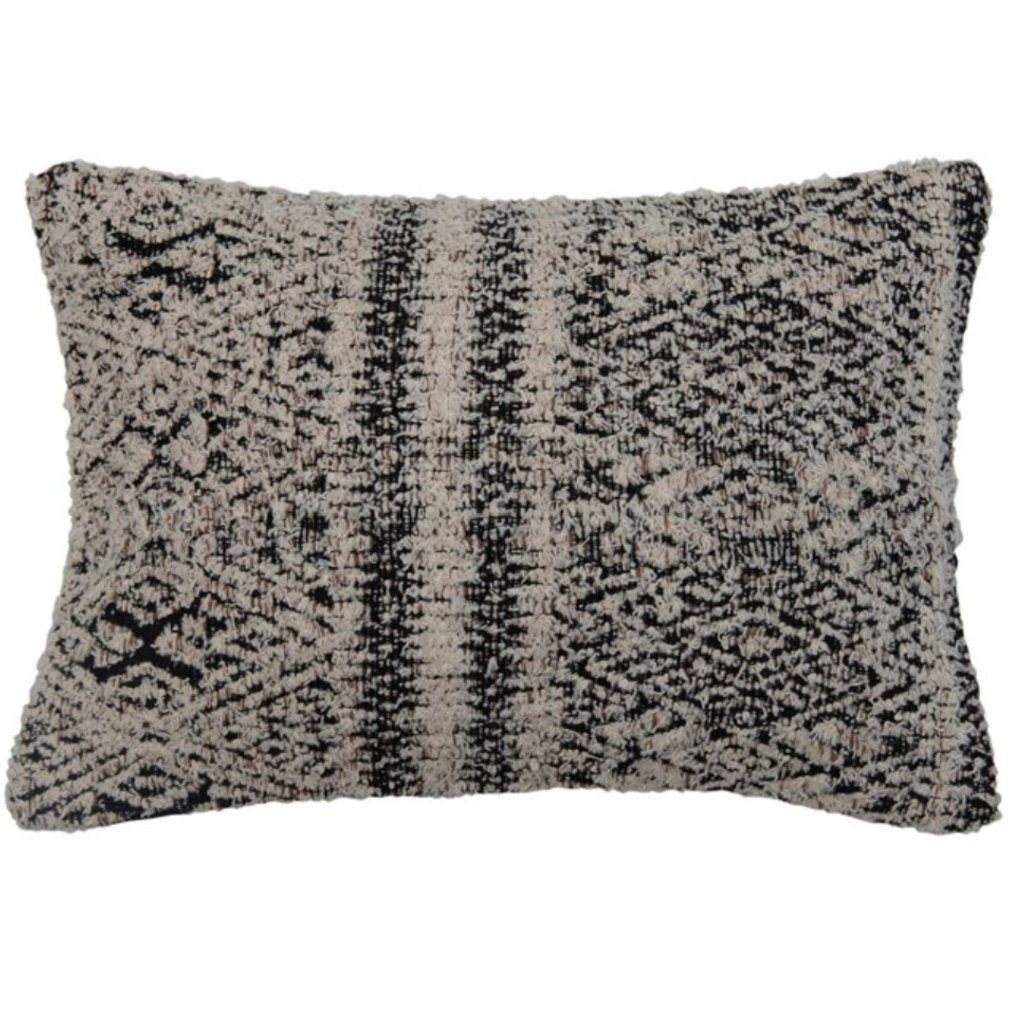 Woven Cotton Blend Jacquard Lumbar Pillow, Black & Cream Color