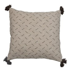 """20"""" Square Cotton Slub Pillow with Embroidered Dots & Tassels, Cream Color & Grey"""