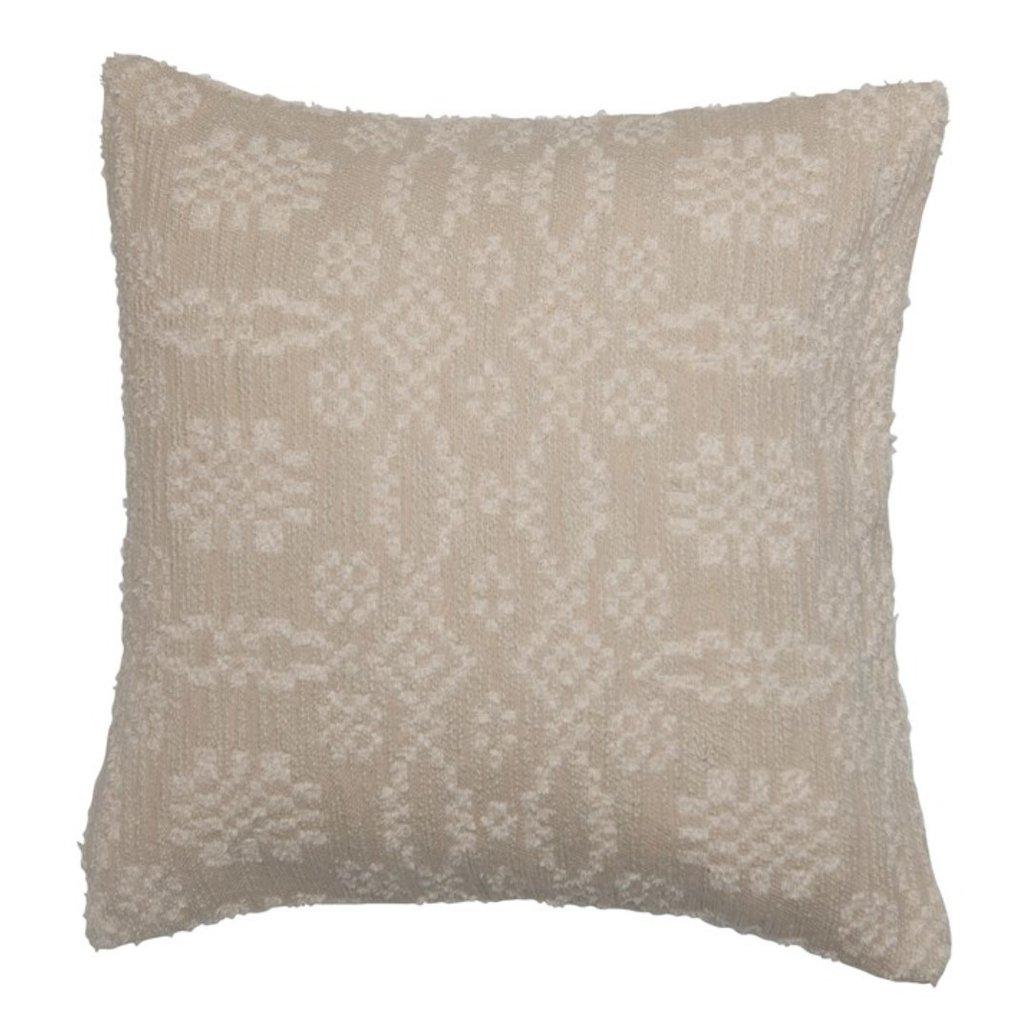 Square Woven Cotton Jacquard Pillow, Beige & Cream Color