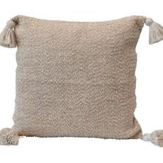 Square Wool Blend Tweed Pillow, Brown