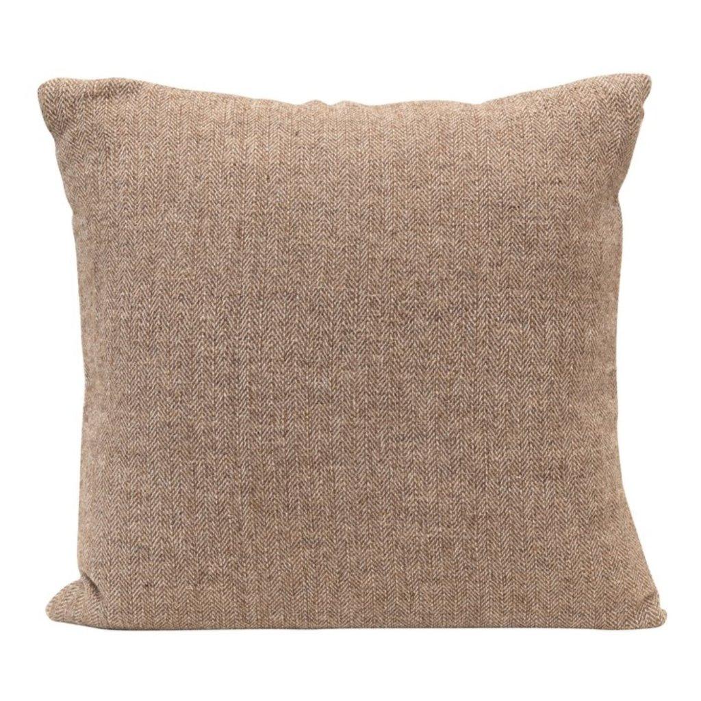 Square Woven Cotton Blend Pillow w/ Silver Metallic Thread & Tassels, Cream & Tan Color