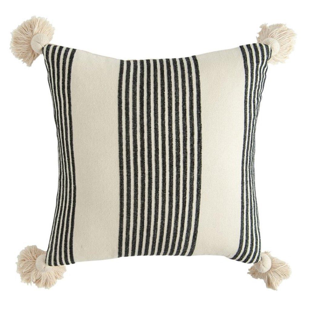 Square Cotton & Chenille Woven Striped Pillow w/ Tassels