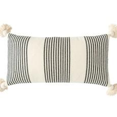 Cotton & Chenille Woven Striped Lumbar Pillow w/ Tassels, Black