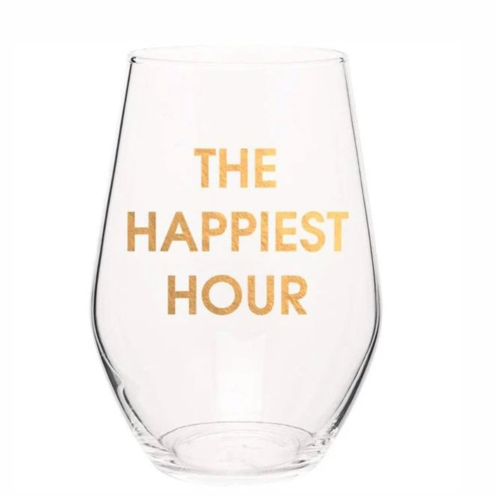 Chez Gagne The Happiest Hour Wine Glass  S/4