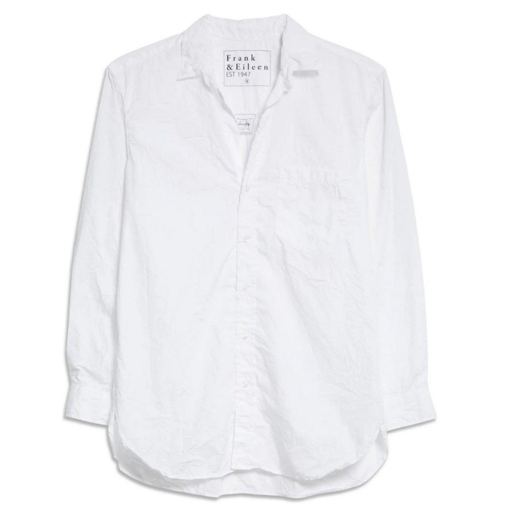 Frank & Eileen Joedy Woven Button Up White Textured Stripe