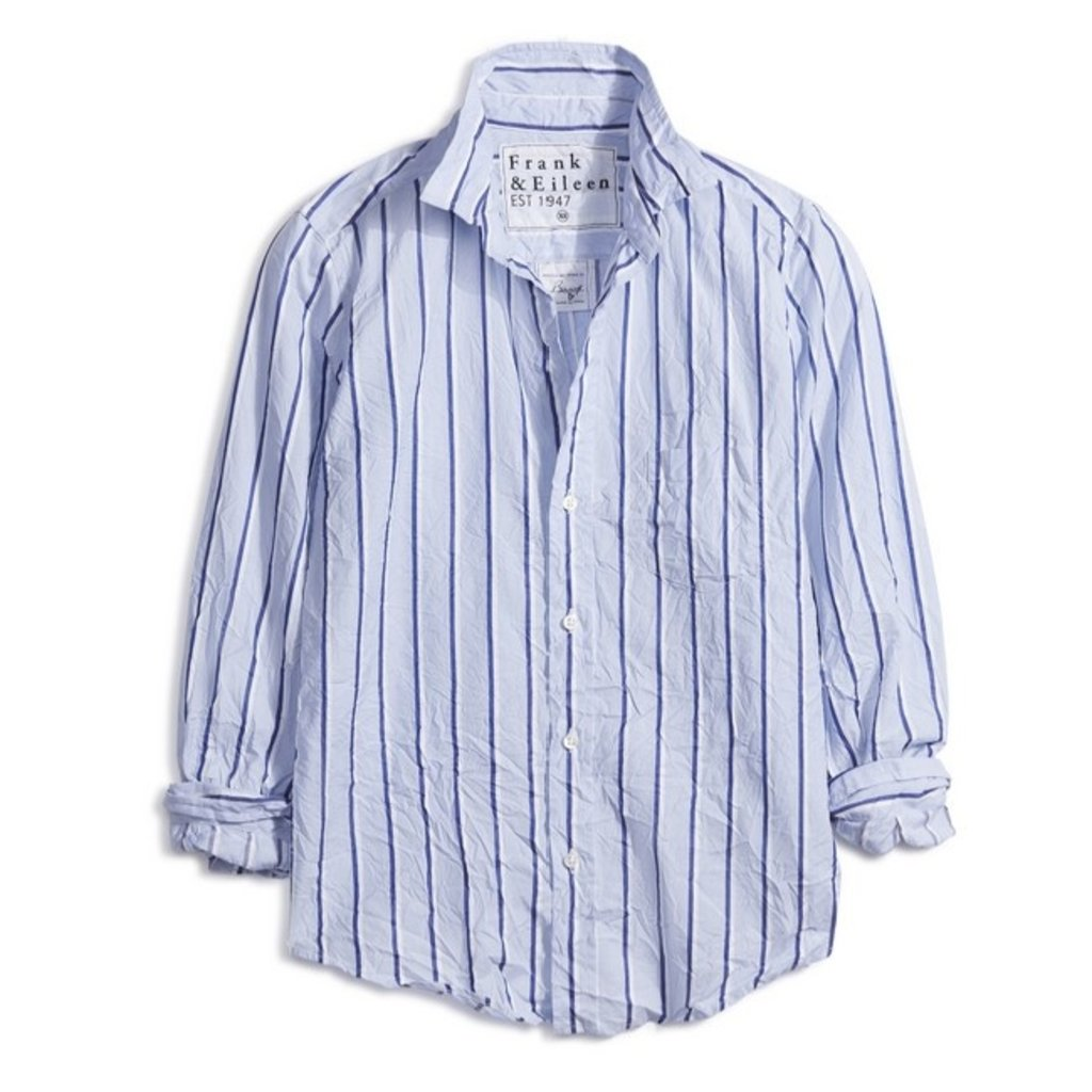 Frank & Eileen Barry Woven Button Up Blue White Double Stripe