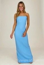 Strapless Slit Back Maxi Gown