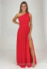 Pleated Bust One Shoulder Maxi Gown