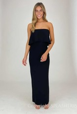 Strapless Overlay Maxi Gown