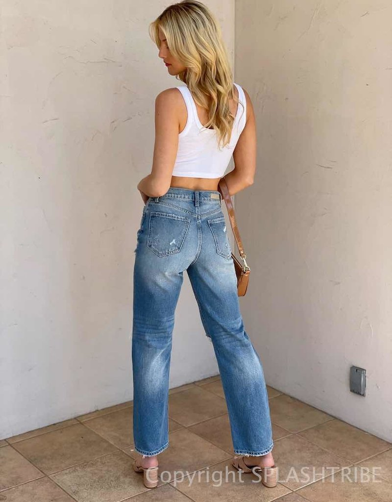 Super High Rise Distressed Dad Jeans