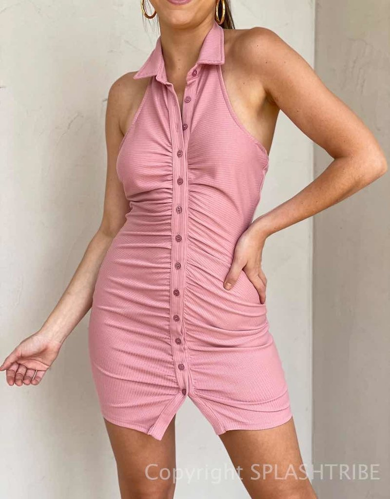 Ribbed Button Front Halter Collar Dress