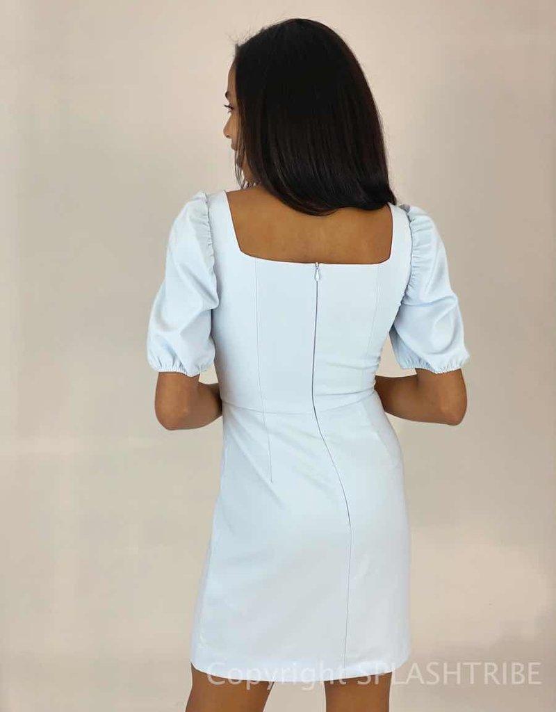 Berina Whisper Solid Puff Sleeve Sweetheart Dress