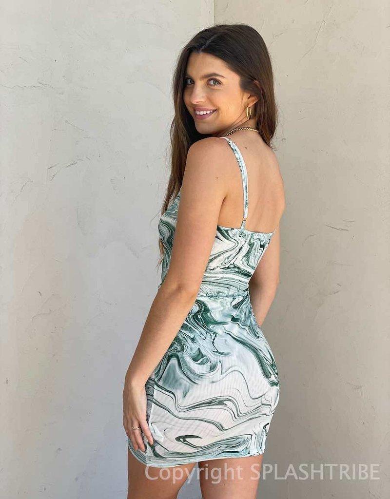 Marble Mesh Cami Mini Dress