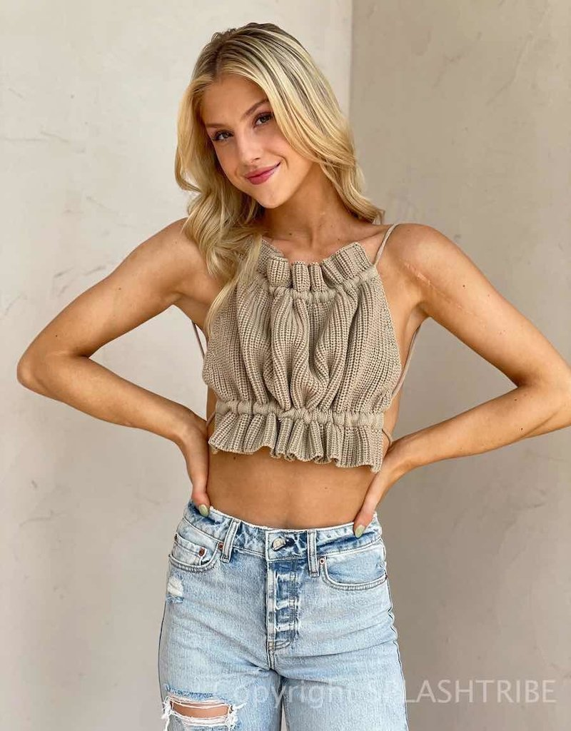 Knit Cropped Backless Halter Top