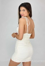 Crinkle Ruched Shoulder Tie Dress