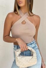 Knit Keyhole Halter Crop Top
