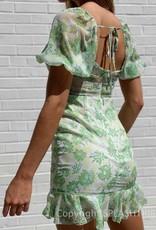 Puff Sleeve Pom Pom Trim Cut Out Dress