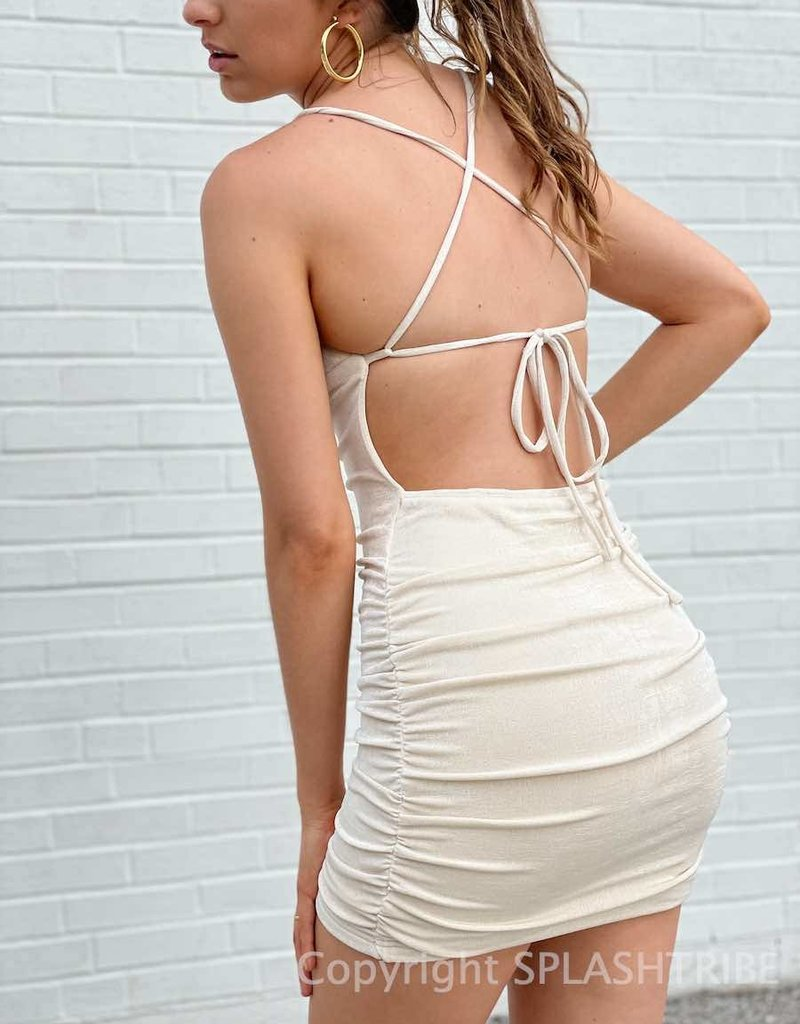 Shimmer Lace Up Ruched Dress