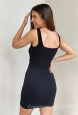 Ribbed Square Neck Cut Out Dress