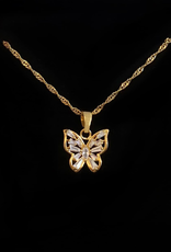 Iced Butterfly Pendant Necklace