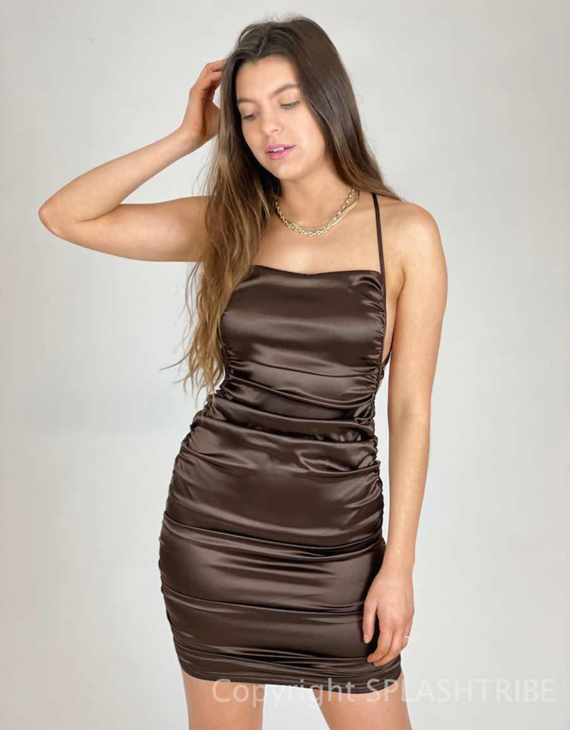 Satin Ruched Strappy Tie Back Dress