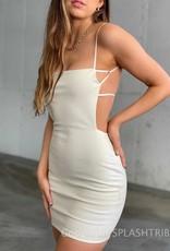 Faux Leather Open Back Dress